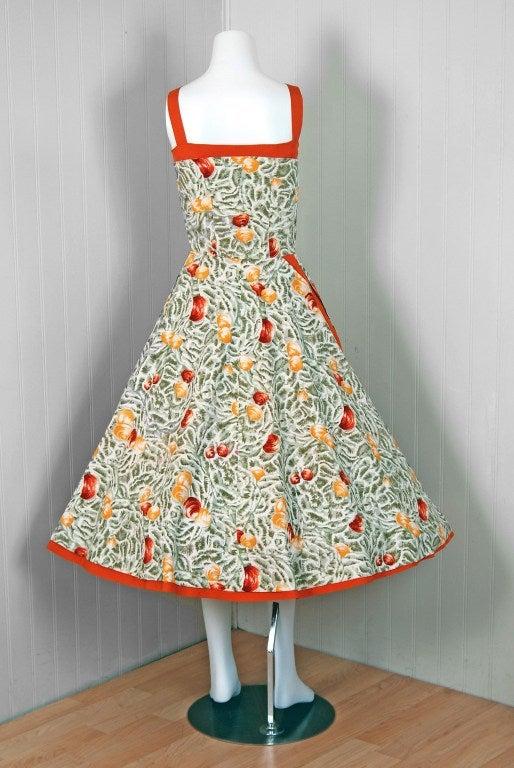 1950's Italian Seashells Novelty Print Cotton Circle-Skirt Dress For Sale 2
