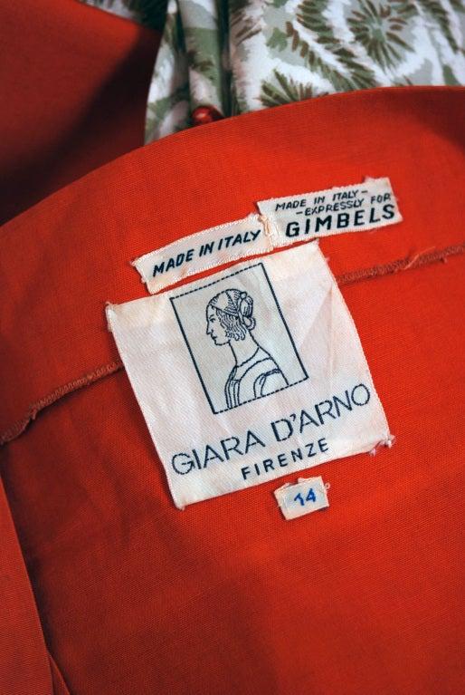 1950's Italian Seashells Novelty Print Cotton Circle-Skirt Dress For Sale 3