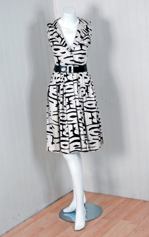 1960's Pauline Trigere Black & White Abstract Print-Silk Dress 2