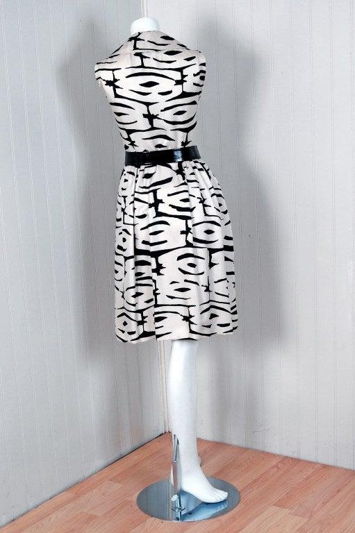 1960's Pauline Trigere Black & White Abstract Print-Silk Dress 5