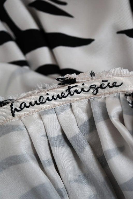 1960's Pauline Trigere Black & White Abstract Print-Silk Dress 6