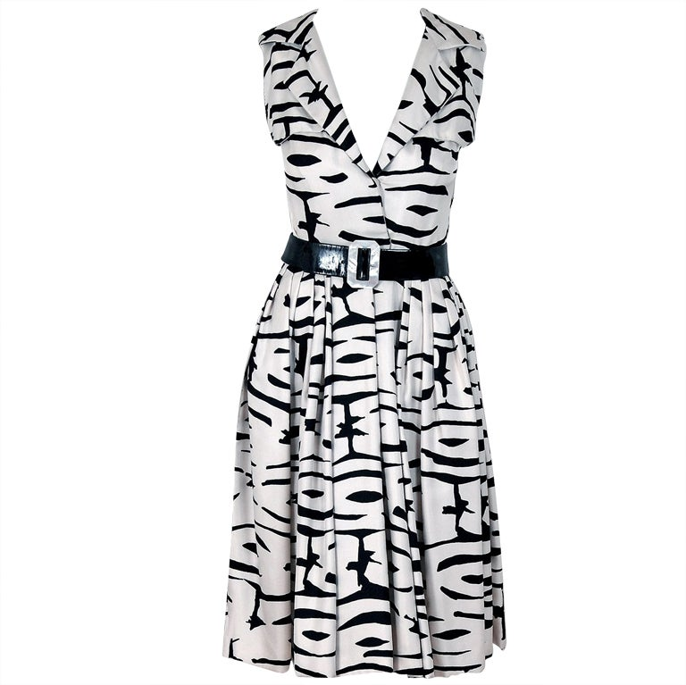 1960's Pauline Trigere Black & White Abstract Print-Silk Dress For Sale