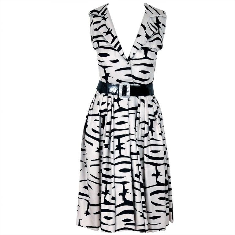 1960's Pauline Trigere Black & White Abstract Print-Silk Dress 1