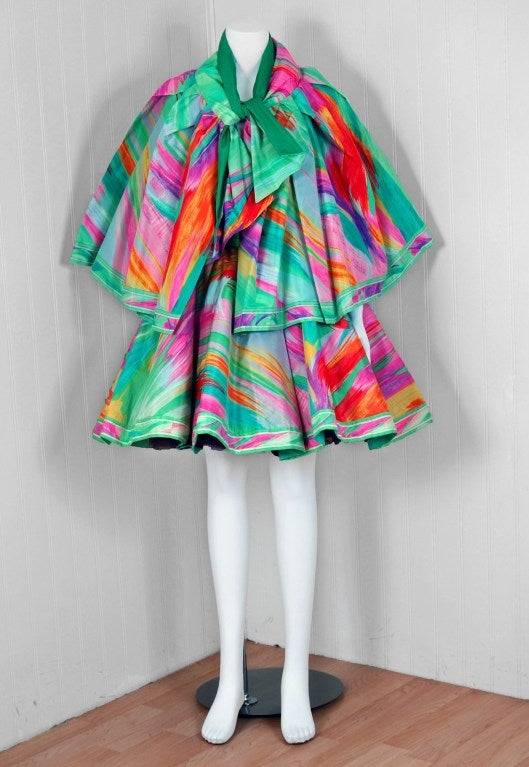 1991 Leonard Haute-Couture Firework Print-Silk Strapless Party Dress & Cape 2
