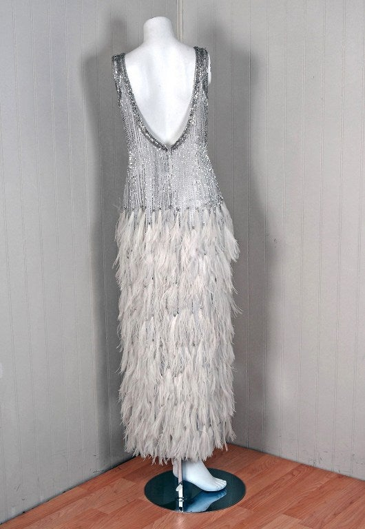 1970 S White Feather And Beaded Chiffon Evening Gown And