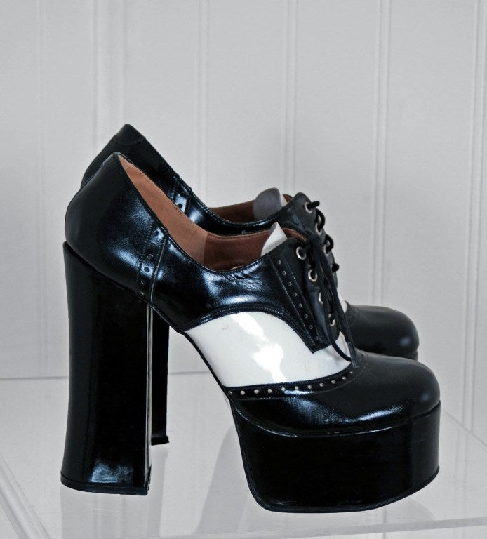 1970's Black & White Wingtips Patent-Leather Platform Shoes 2