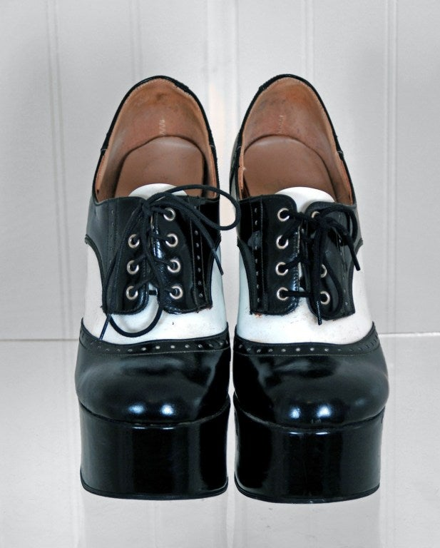 1970's Black & White Wingtips Patent-Leather Platform Shoes 3