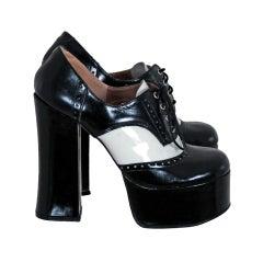 1970's Black & White Wingtips Patent-Leather Platform Shoes