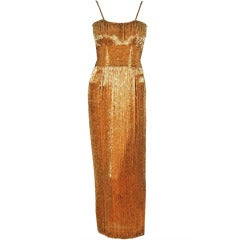 1950's Samuel Winston Hourglass Gold Beaded-Silk Evening Gown
