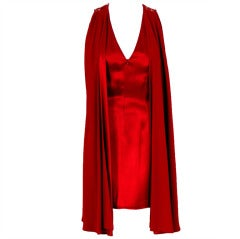 Madame Gres Red Silk / Satin and Lace Illusion Draped Mini Cocktail Dress, 1980s