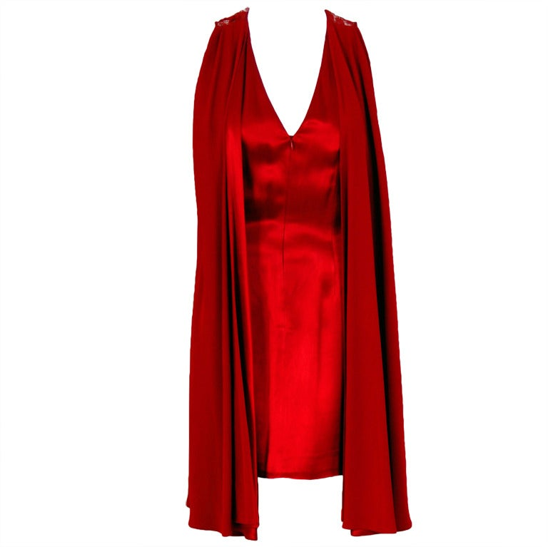 1980's Madame Gres Red Silk-Satin & Lace Illusion Draped Mini Cocktail Dress