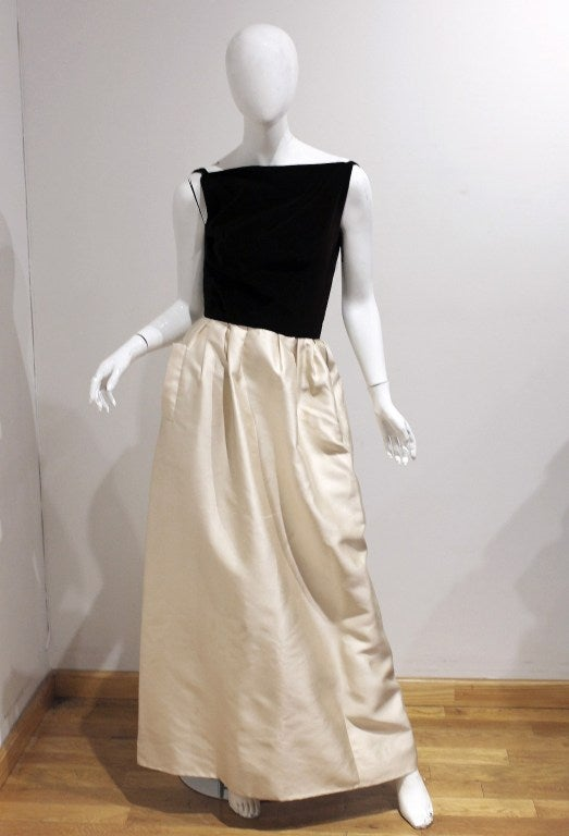 1960's Nina Ricci Dark-Brown & Ivory White Silk Evening Gown & Cape 2