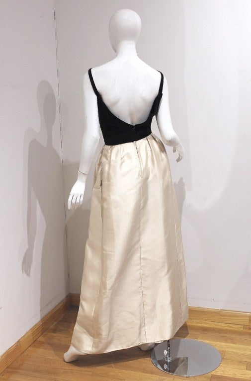 1960's Nina Ricci Dark-Brown & Ivory White Silk Evening Gown & Cape 3