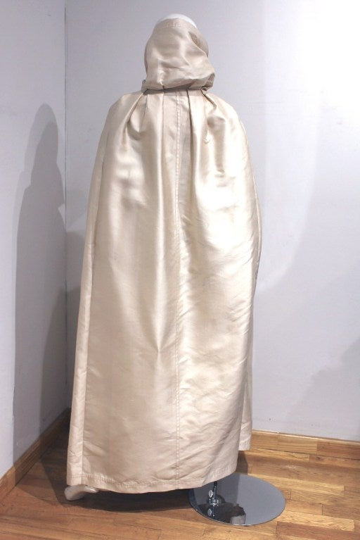 1960's Nina Ricci Dark-Brown & Ivory White Silk Evening Gown & Cape 4