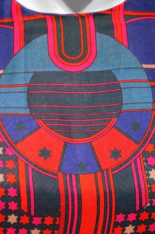 1960's Pierre Cardin Psychedelic Print Pure-Silk Maxi Dress 2