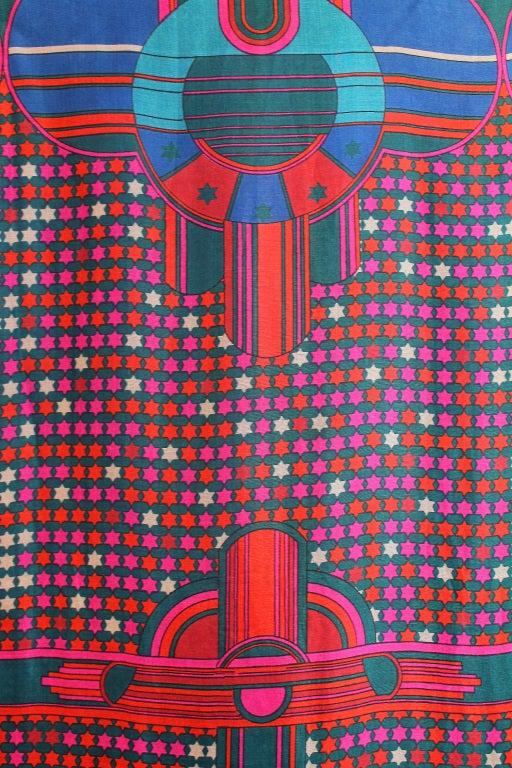1960's Pierre Cardin Psychedelic Print Pure-Silk Maxi Dress 3