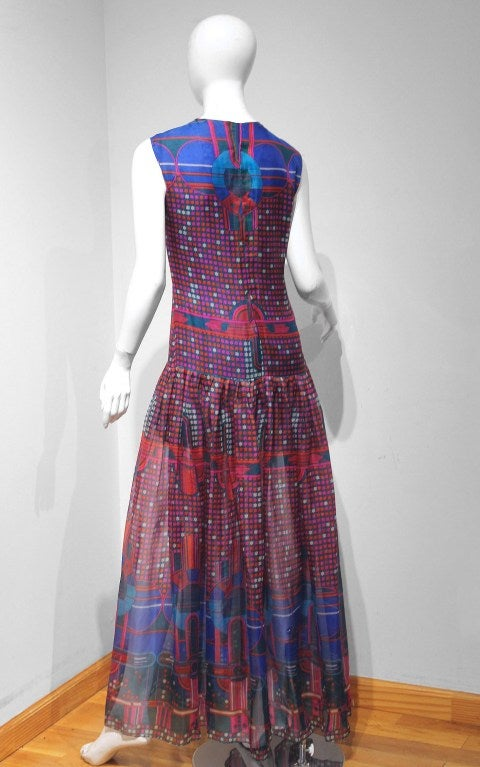1960's Pierre Cardin Psychedelic Print Pure-Silk Maxi Dress For Sale 1
