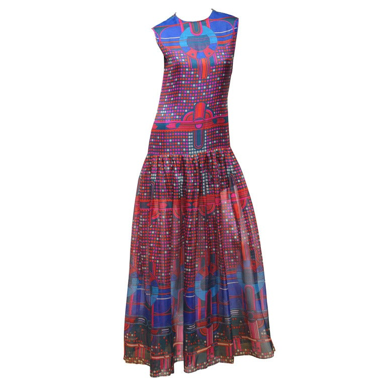1960's Pierre Cardin Psychedelic Print Pure-Silk Maxi Dress For Sale