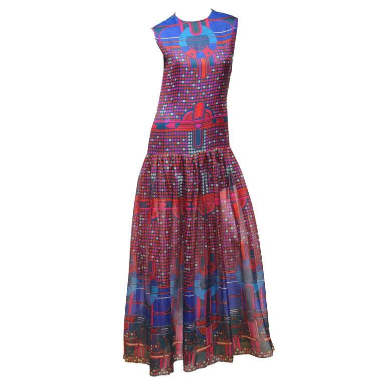 1960's Pierre Cardin Psychedelic Print Pure-Silk Maxi Dress 1