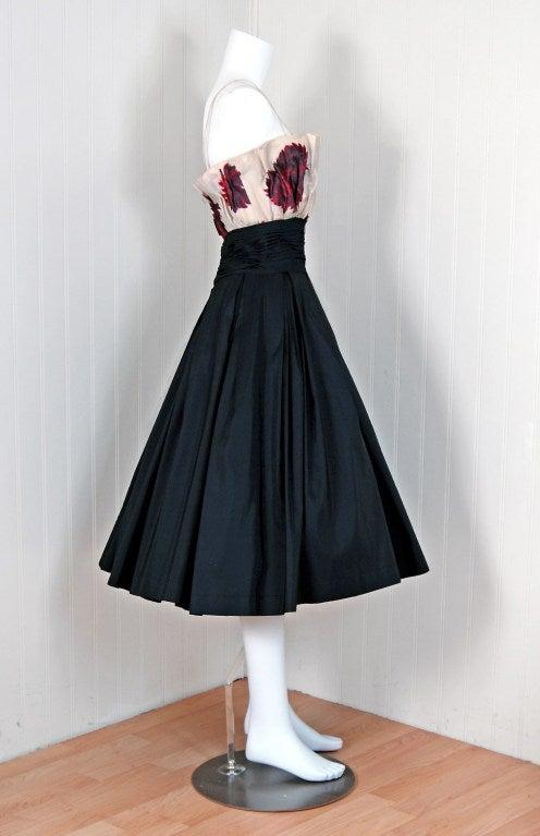Women's 1950's Ceil Chapman Watercolor Floral Print Black Silk Circle-Skirt Party Dress  For Sale