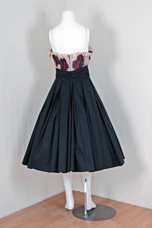 1950's Ceil Chapman Watercolor Floral Print Black Silk Circle-Skirt Party Dress  For Sale 1