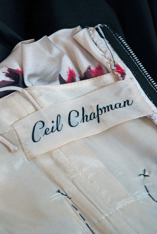 1950's Ceil Chapman Watercolor Floral Print Black Silk Circle-Skirt Party Dress  For Sale 2