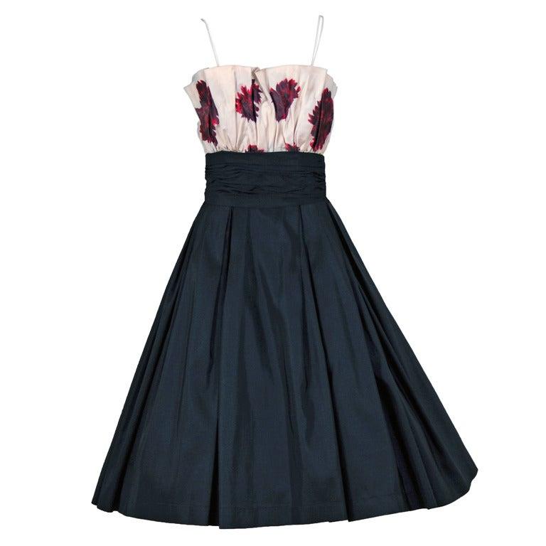1950's Ceil Chapman Watercolor Floral Print Black Silk Circle-Skirt Party Dress  For Sale