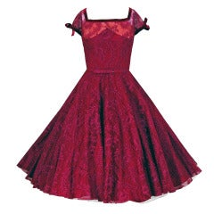 1950's Frank Starr Fuchsia Pink Chantilly-Lace Full Party Dress