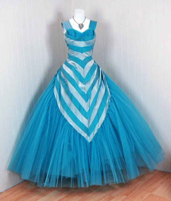 1950's Turquoise-Blue Striped Silk-Organza & Tulle Ballgown 2
