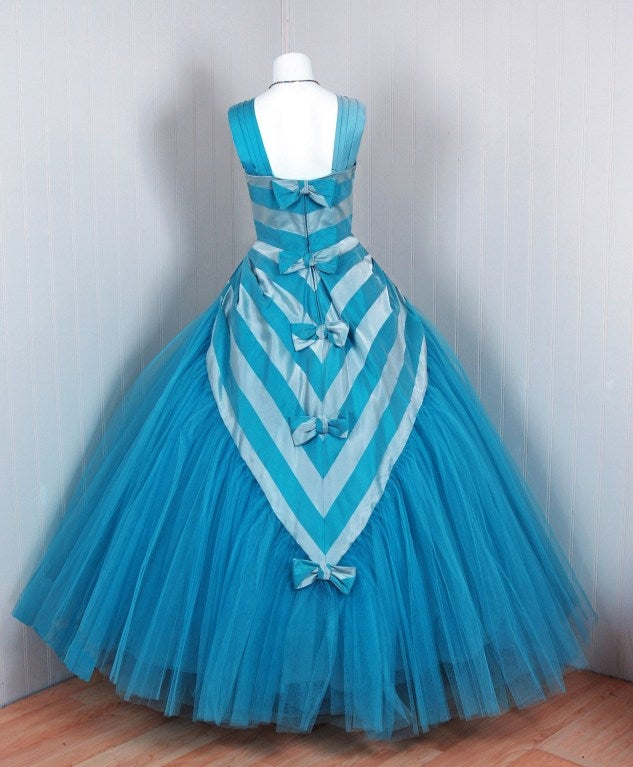 1950's Turquoise-Blue Striped Silk-Organza & Tulle Ballgown 5