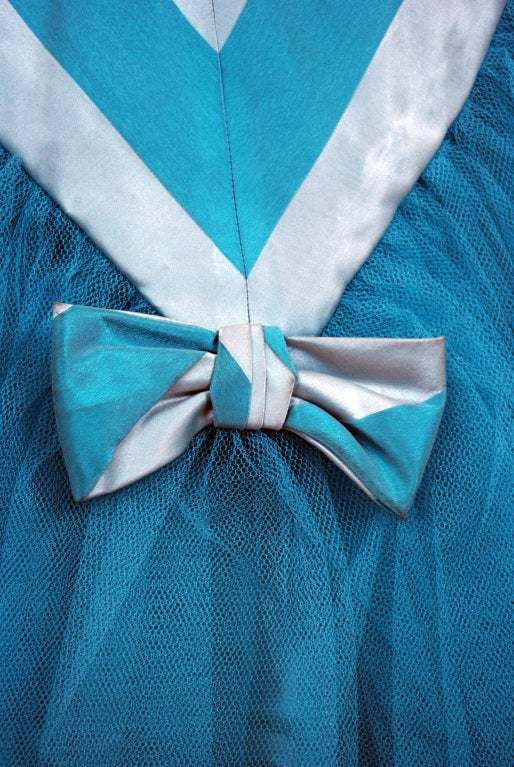 1950's Turquoise-Blue Striped Silk-Organza & Tulle Ballgown 6