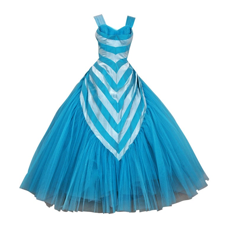 1950's Turquoise-Blue Striped Silk-Organza & Tulle Ballgown 1