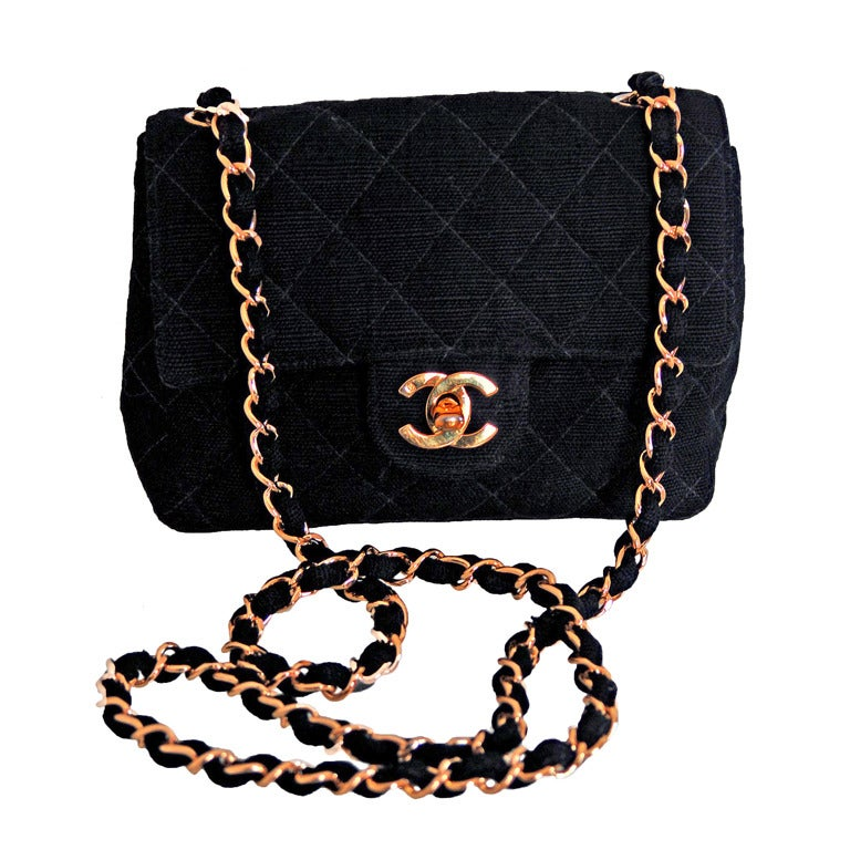 1990's Chanel Quilted Black Canvas Gold Hardware Flap Purse 1