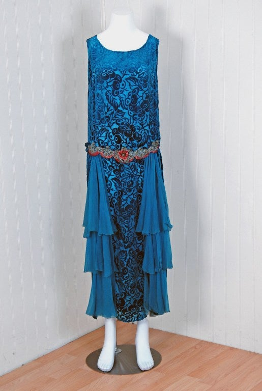 1920's Royal-Blue Voided Silk Velvet Appliqued Flapper Dress 2