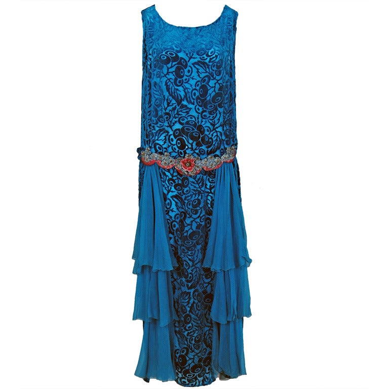 1920's Royal-Blue Voided Silk Velvet Appliqued Flapper Dress 1