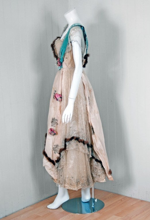 1912 house of worth haute couture metallic ivory silk gown for Haute couture fashion house