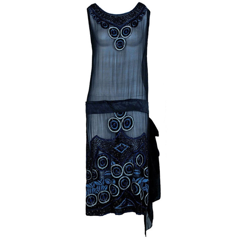 1920's Art-Deco Embroidered Beaded Silk-Chiffon Flapper Dress