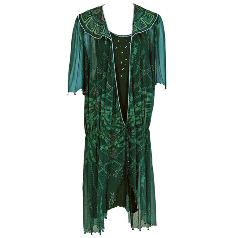 Zandra Rhodes Emerald Green Beaded Hand-Painted Silk Chiffon Wrap Dress, 1975
