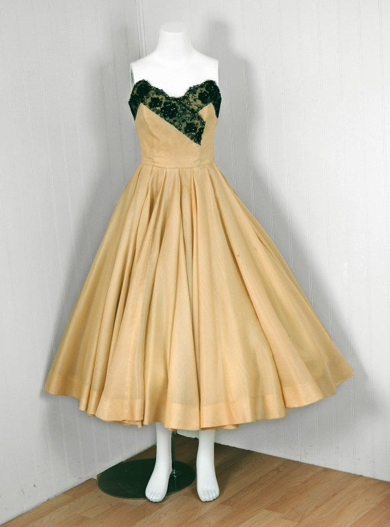 1950's Jacques Fath Pale-Yellow Silk & Black Beaded Lace Strapless Party Dress 2
