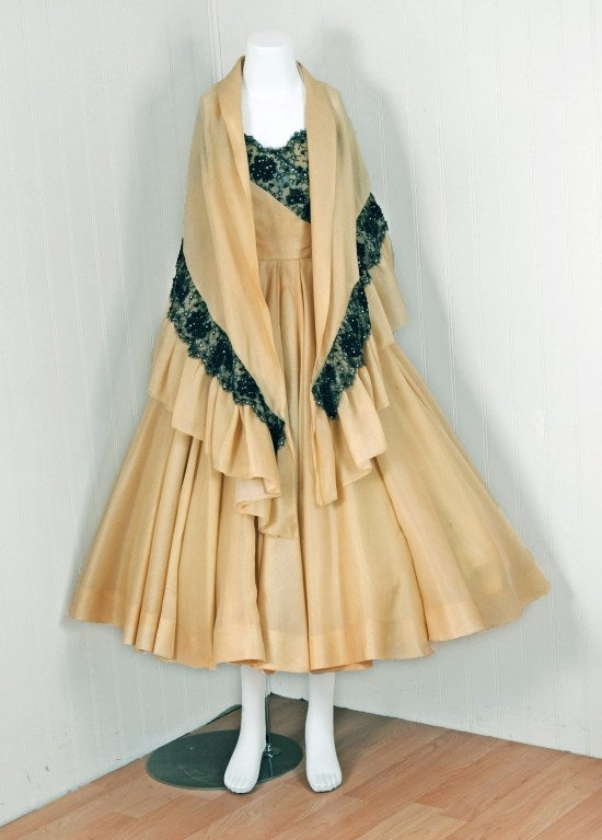 Beige 1950's Jacques Fath Pale-Yellow Silk & Black Beaded Lace Strapless Party Dress For Sale