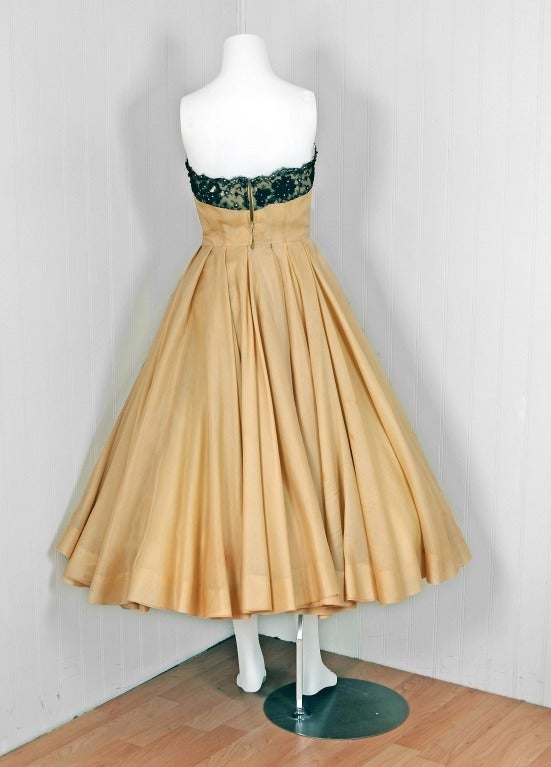 1950's Jacques Fath Pale-Yellow Silk & Black Beaded Lace Strapless Party Dress 6