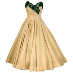 1950's Jacques Fath Pale-Yellow Silk & Black Beaded Lace Strapless Party Dress