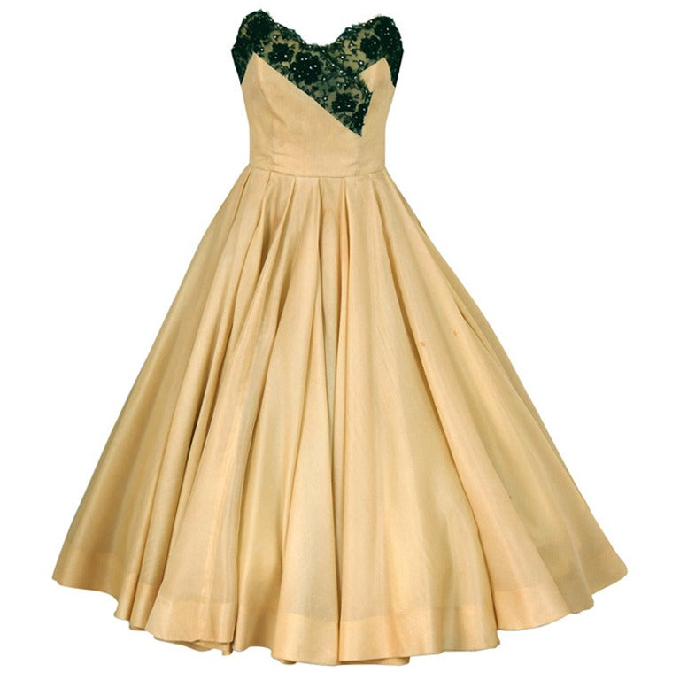 1950's Jacques Fath Pale-Yellow Silk & Black Beaded Lace Strapless Party Dress For Sale
