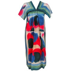 1970's Hand-Painted Colorful Print Pure-Silk Bohemian Day Dress