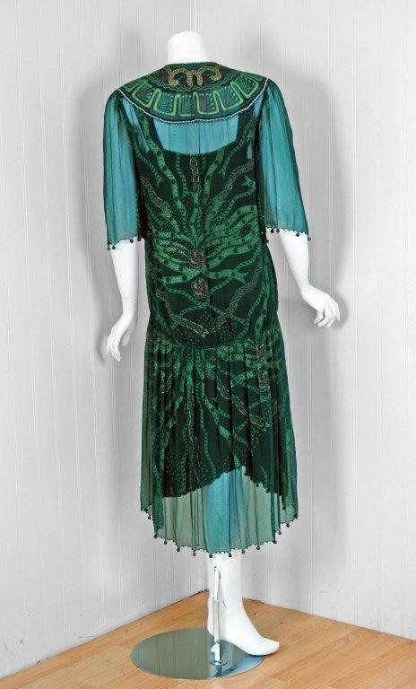 1975 Zandra Rhodes Emerald Green Beaded Hand-Painted Silk Chiffon Wrap Dress 5
