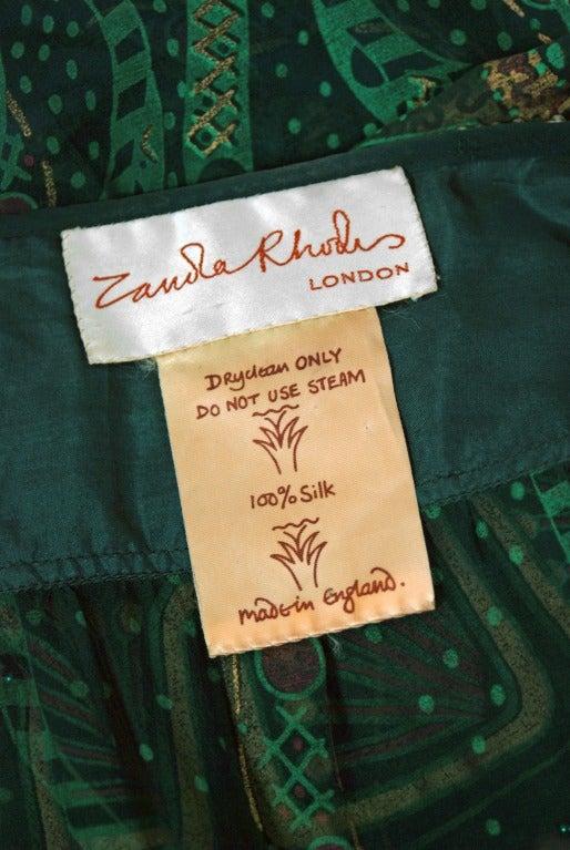 1975 Zandra Rhodes Emerald Green Beaded Hand-Painted Silk Chiffon Wrap Dress 6