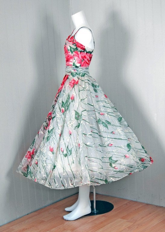 1950's Emma Domb Pink-Roses Floral Print Chiffon Party Dress 2
