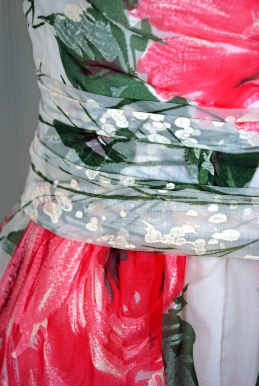 1950's Emma Domb Pink-Roses Floral Print Chiffon Party Dress 4