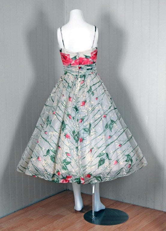 1950's Emma Domb Pink-Roses Floral Print Chiffon Party Dress 5