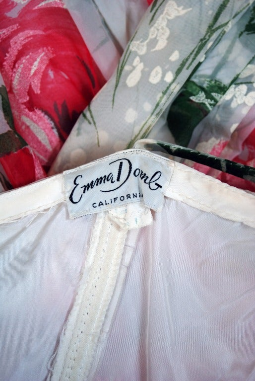1950's Emma Domb Pink-Roses Floral Print Chiffon Party Dress 6